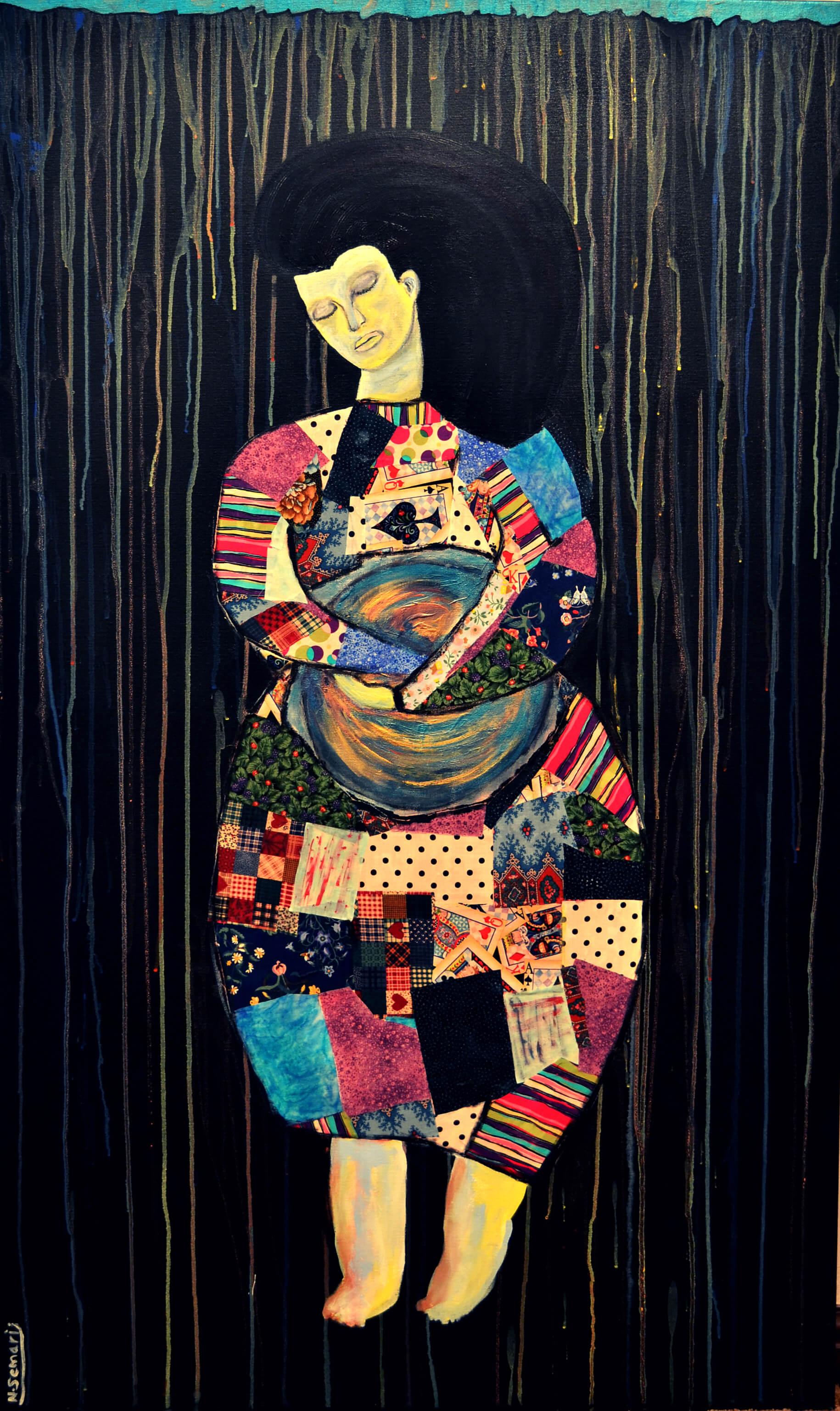Dreamer - mixed media - 152x92 cm By Nouf Semari